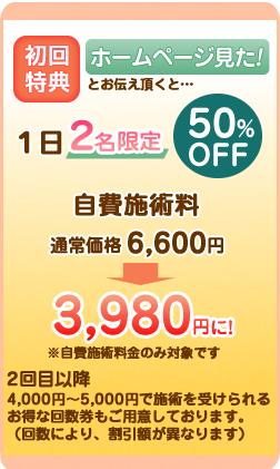 初回特典 ホームページ見た 1日2名限定 50%OFF 通常価格8,000円が3,980円